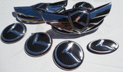 2013 + Elantra Coupe 7pc K-WING Emblem Badge Logo Grill Trunk Caps Steering