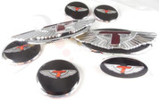 2013 + Genesis Coupe Loden 7pc T-WING Emblem Badge Set Grill Trunk Caps Steering Wheel