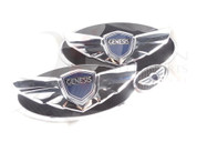 2013-2014 Genesis Coupe 3.6l LODEN FULL CARBON Genuine WING Badge Set Grill Trunk Steering 3pc