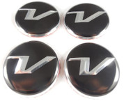 "Veloster ""V"" Wheel Cap Emblem Set Overlay 4pc Set"
