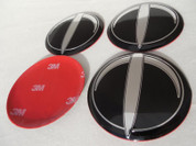 T-LOGO Wheel Cap Emblem Overlay Set 4pc for Hyundai Models