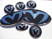 """2007 - 2009 Santa Fe LODEN """"M"""" Carbon/Stainless Steel Badge Emblem Grill Trunk Caps Steering 7pc"""
