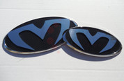 """2007 - 2009 Amanti Opirus LODEN """"M"""" Badge Emblem Package Grill/Trunk Front/Rear 2pc"""