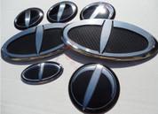 "2014+ Forte Cerato Sedan K3 LODEN ""T"" Carbon/Stainless Steel Badge Emblem Grill Trunk Caps Steering 7pc"