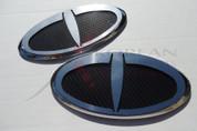 "2010 - 2012 Santa Fe LODEN ""T"" Badge Emblem Package Grill/Trunk Front/Rear 2pc"