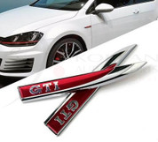 GTI Chrome/Red Side Fender Accent Emblem Set 2pc