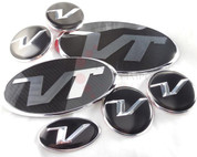 "Veloster Loden ""VT"" Badge Emblem Grill Trunk Caps Steering 7pc"