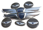 2012 - 2014 Genesis Sedan *NEW* 15+ Wing Badge Emblem Logo Hood/Trunk/Steering/ Caps 7pc
