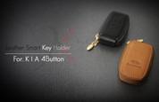 Universal 4 button for Kia OE Leather Zipper Smart Key Holder/Chain