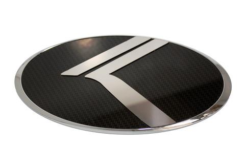 """2006 - 2014 Sedona Carnival LODEN """"Vintage K"""" Carbon/Stainless Badge Emblem Logo"""