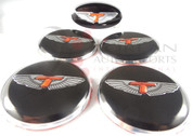 T-WING 5pc Package Wheel Caps + Steering Emb