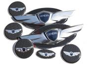 2017+ IONIQ SILVER Wing Badge Emblem Logo Hood/Trunk/Steering/ Caps 7pc