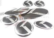 07+ Amanti FULL CARBON 7pc Set K Emblem Badge Grill Trunk Caps S