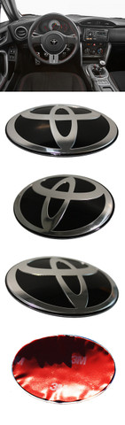 t-logo toyota steering wheel emblem for Scion FR-S, Subaru BRZ