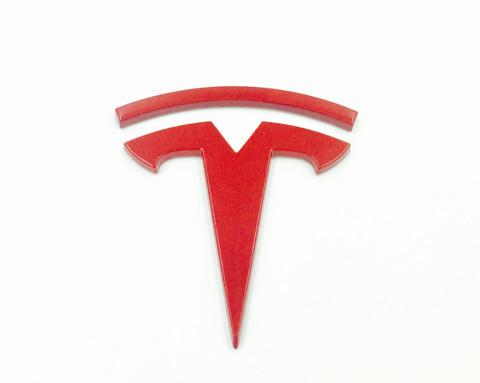 T Badge for Tesla Model S Model X Model 3 Red