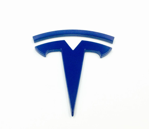 T Badge for Tesla Model S Model X Model 3 Electric BLUE color