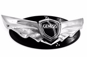 Genesis coupe black-chrome oem genuine wing badge on black loden base emblem with carbon optic pattern, limited edition