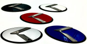 Gunmetal Gray K Logo 3.0 LODEN K Badges with Matte Black Edge, Red, blue, white, silver, black or blue CENTER color options, multi color K badges for Kia models Optima Cadenza Forte Rio Stinger Niro Sorento Sportage K900 Soul and more