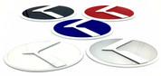 """2012-2016 Rio Hatch 5dr """"LODEN 3.0"""" K Badges *WHITE EDGE* Emblem  (VARIOUS COLORS)"""