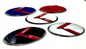 3.0 LODEN K Badges with 5 Edge colors White Matte-Black Black-Chrome Chrome-Plated Gold-Plated 5 Center colors Red, blue, white, silver, black blue 8 color K  logos 200 color combinations badges emblems for Kia models Optima Cadenza Forte Rio Stinger Niro Sorento Sportage K900 Soul and more