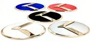 3.0 LODEN K Badges with 5 Edge colors White Matte-Black Black-Chrome Chrome-Plated Gold-Plated 5 Center colors Red, blue, white, silver, black blue 8 color K  logos 200 color combinations badges emblems for Kia models Optima Cadenza Forte Rio Stinger Niro Sorento Sportage K900 Soul and more