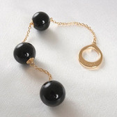 Sylvie Monthule Men's Gold Loop with Black Insertable Triple Geisha Balls