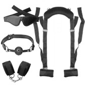Frisky Leg Strap Positioning Kit with Blindfold, Cuffs & Ball Gag