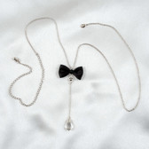 Sylvie Monthule Silver Waist Chain with Bow & Dangling Crystal Pendant