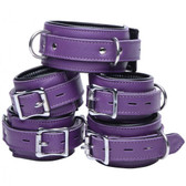 Strict Leather Purple 5-Piece Locking Leather Bondage Set