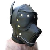 StockRoom Black Leather Dog Hood with Snap-on Muzzle, Blindfold & Gag