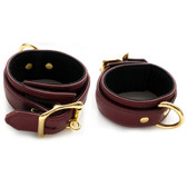 StockRoom JT Signature Collection Brown Leather Locking Wrist Restraints with Gold Hardware