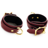 StockRoom JT Signature Collection Brown Leather Locking Ankle Restraints with Gold Hardware
