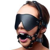 Strict Faux Leather Blindfold Head Harness with Ball Gag