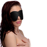 Strict Faux Leather Black Fleece Lined Blindfold