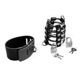 Master Series Locking 5-Ring Chastity Device with Leather Cock & Ball Straps