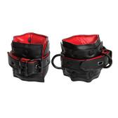 Kink by Doc Johnson Black & Red Leather Locking Adjustable Ankle Restraints