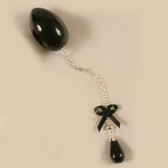 Sylvie Monthule Insertable 34mm Black Egg, Black, Bow and Pendant with Silver Chain