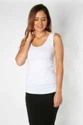Bamboo Body Ruched Singlet - White
