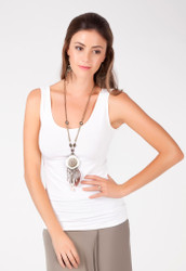 Bamboo Body Vest Top - White