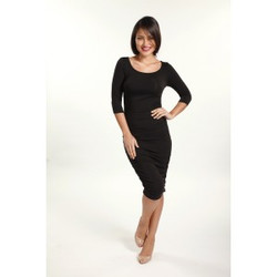 Bamboo Body 3/4 Sleeve Dress - Black