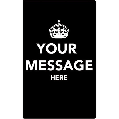Personalised Luggage Tag - Keep Calm Your Own Message - Black
