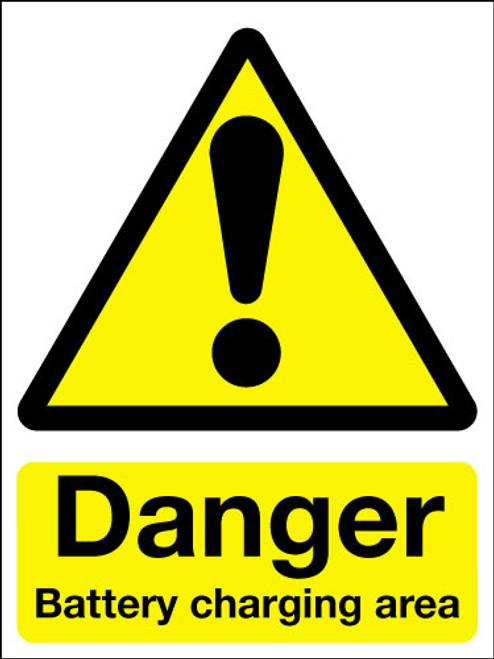 Danger battery charging area safety sign
