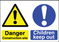 Site safety sign Danger Construction site Children keep out