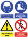 Site sign Safety helmets - Protective footwear -Hazardous area - No admittance