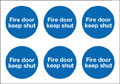 Fire action keep shut labels on sheet