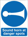 Sound horn at danger spots sign