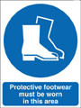 Protective footwear must be worn in this area sign