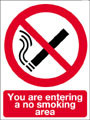 You are entering a no smoking area sign