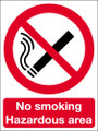 No smoking hazardous area sign