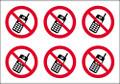 No mobile phones circular stickers
